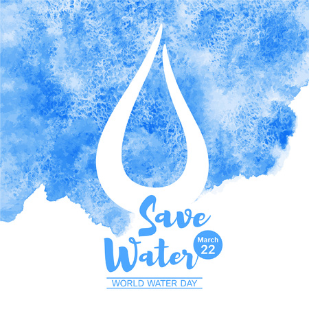 World water day watercolor vector illustration with lettering and drop. Navy blue watercolour background with stains and uneven edge. Save water typographic composition. Greeting or motivation card.