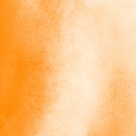 orange texture: Orange watercolor background with stains. Painted watercolour texture. Bright, festive square template for cards, banners, posters. Stock Photo