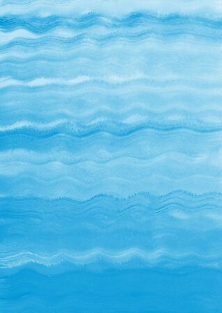Painted sea, ocean, river, swimming pool waves background. Acrylic or gouache water texture. Sky blue brush drawn wavy lines. Backdrop for cards, posters, texts.