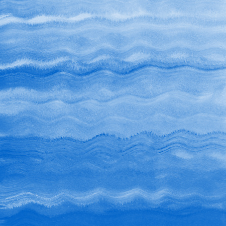 Painted sea, ocean, swimming pool waves background. Acrylic or gouache square water texture. Navy blue brush drawn wavy lines. Maritime, marine, naval backdrop for cards, posters, texts. Stock Photo