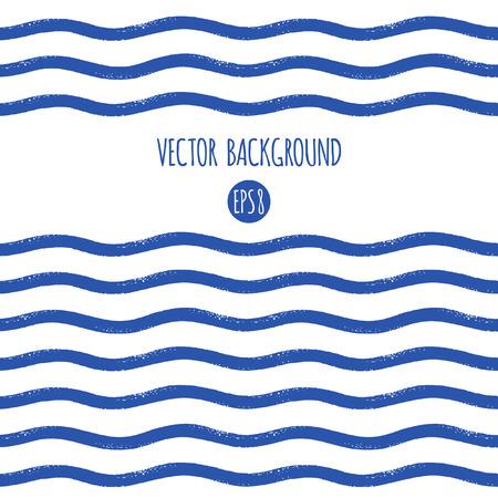 ブラシ描画ウェーブ質感ストライプ、縞、バーまたは波テンプレート。水平方向の境界線やフレームではシームレスに。海洋、海洋、海軍縞抽象模