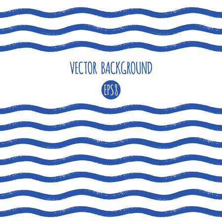 Cepille las rayas texturizadas onduladas dibujadas, las rayas, las barras o la plantilla de las ondas. Sin costuras en el borde horizontal de la dirección o el marco. Patrón abstracto rayado marina, marítimo, naval. Azul marino y blanco. Foto de archivo - 76989641