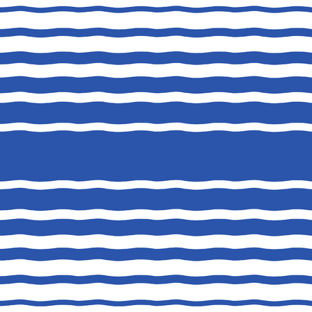 Wavy sailor stripes, streaks, bars or waves of different width seamless vector pattern. Marine, maritime, naval striped background. Navy blue and white. Water, sea, ocean, river abstract template.