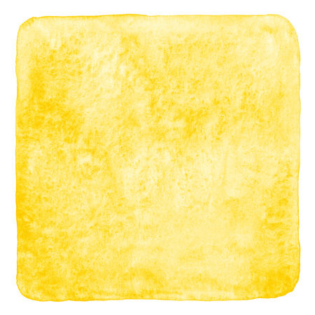 edge design: Yellow watercolor fill with rounded corners and uneven edge isolated on white. Watercolor stains background. Abstract painted template for card, poster, banner design. Aquarelle texture.