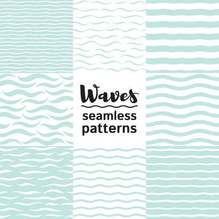 Set of vector seamless patterns with various waves, wavy stripes, undulating streaks, bars, lines. Water, sea, marine, maritime, naval endless textures collection. Hand drawn stylized water templates.