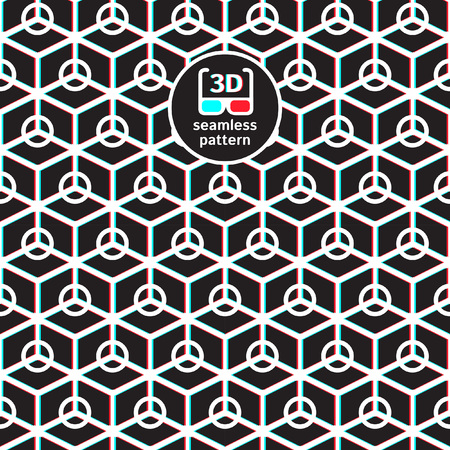 anaglyph: Anaglyph 3D black and white seamless vector pattern. Geometric background with rhombuses and circles. Stereoscopic 3D effect texture for red cyan glasses. Creative geometrical template for your text.