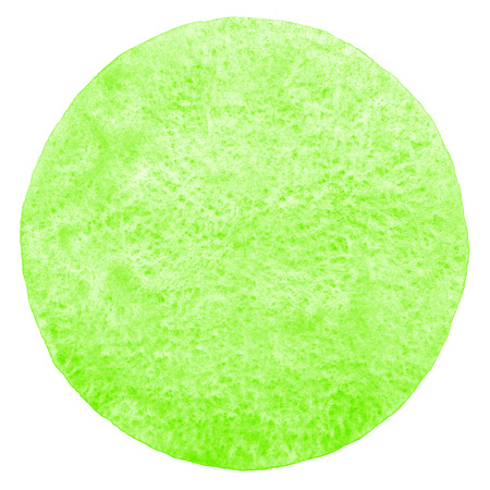 Grass green watercolor circle with uneven edge isolated on white. Abstract eco, nature round template. Watercolour stains painted background. Aquarelle texture. Stock Photo