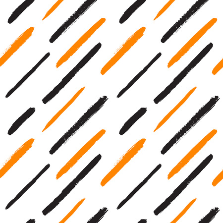 diagonal: Diagonal brush strokes seamless vector pattern. Hand drawn black and orange background. Various stripes, lines, brushstrokes with rough edges texture.