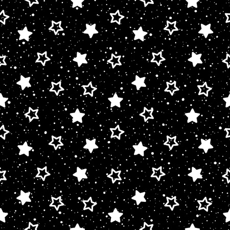 Cosmic seamless vector background. Simple star shapes and spray, splash, tiny dots, specks, flecks texture. Black and white monochrome template. Night sky with stars.