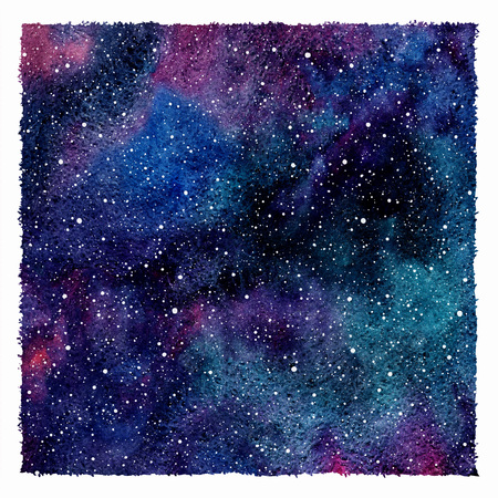 sky night: Square cosmic background with rough edges. Hand drawn cosmos with blobs, spots texture. Colorful watercolor. Emerald, blue, violet watercolour stains.