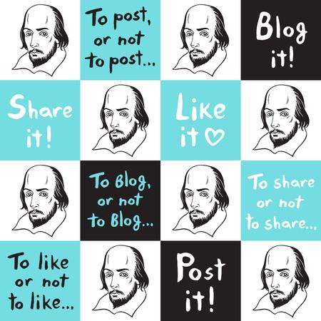 Bezszwowe wektor wzór z portretem Szekspira i śmiesznymi cytatami z mediów społecznościowych. Internet, sieć, blog, komunikacja internetowa cytuje tło. Ręcznie rysowane napis. Tekstura szachownicy.