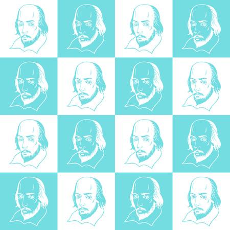 Shakespeare-Porträt nahtloser Vektor-Muster. Literarischer Theaterhintergrund. Shakespeare-Porträtillustration mit geometrischem Schachbrettzusammenfassungshintergrund. Standard-Bild - 79754607