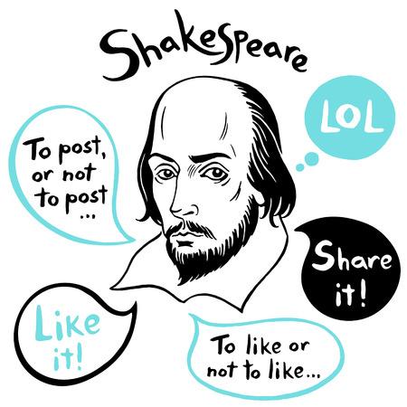 Szekspirowski portret z bąbelkami mowy i zabawnymi cytatami z mediów społecznościowych. Shakespeare atrament ciągnione ilustracji wektorowych z Internetu, sieci, blog, cytaty komunikacji internetowej. Ręcznie rysowane napis.