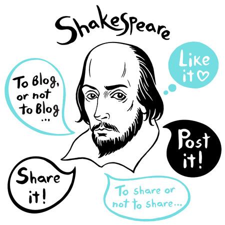 Szekspirowski portret z bąbelkami mowy i zabawnymi cytatami z mediów społecznościowych. Shakespeare atrament ciągnione ilustracji wektorowych z Internetu, sieci, blog, cytaty komunikacji internetowej. Ręcznie rysowane napis. Ilustracje wektorowe