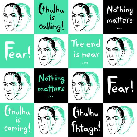 Jednolite wektora wzór z Howard Phillips Lovecraft portret i cytaty cytaty pisarza, cytaty. Horror fiction książka tuszem rysowane tle z napisem Strach! Cthulhu woła.