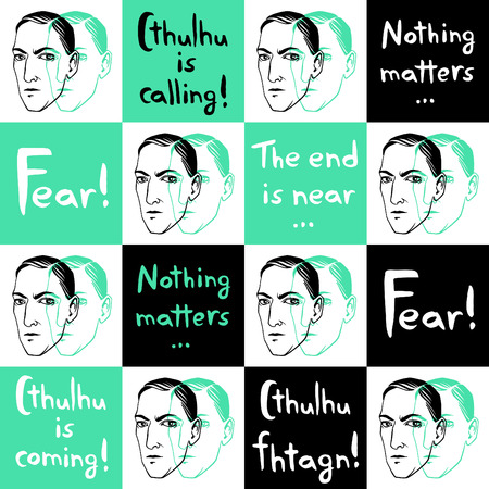 writer: Seamless vector pattern with Howard Phillips Lovecraft portrait and famous writers citations, quotes. Horror fiction book ink drawn background with lettering Fear! Cthulhu is calling. Illustration