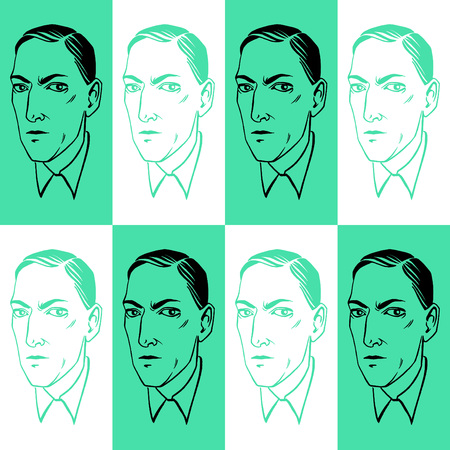 Howard Phillips Lovecraft portrait seamless vector pattern. Horror fiction book ink drawn illustration, endless texture with geometrical background.