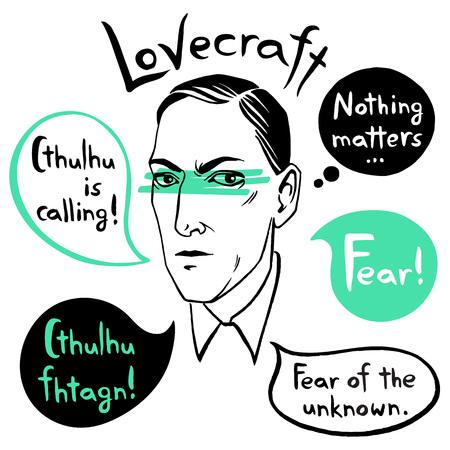 Howard Phillips Lovecraft portret z dymkami i cytatami znanego pisarza, cytaty. Horror książki fiction atrament wyciągnąć ilustracji wektorowych z napisem Strach! Cthulhu dzwoni. Ilustracje wektorowe