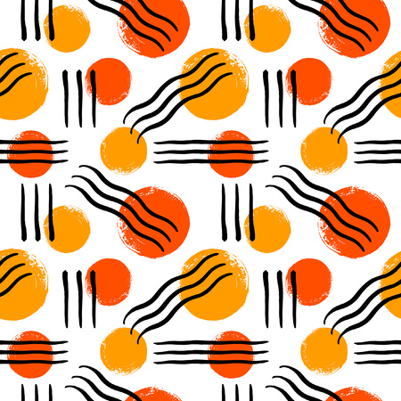 Abstract seamless vector pattern with brush drawn circles and lines. Bright colorful hand drawn background. Round shapes, wavy lines texture. Rough, artistic edges. Illustration