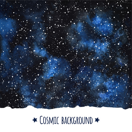 Cosmic watercolor vector background with uneven edge. Galaxy or night sky with stars border.