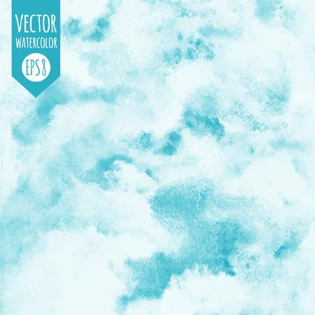 하늘 벡터 수채화 평방 배경입니다. 구름과 하늘. 파란색 음영입니다. 추상 수채화 배경으로 그려진. 프레스코 모방.