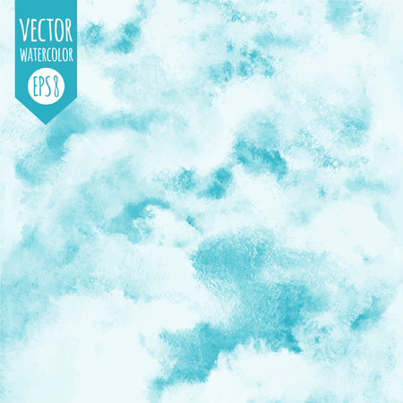 Sky vector watercolor square background. Heaven with clouds. Shades of blue. Painted abstract aquarelle backdrop. Fresco imitation.
