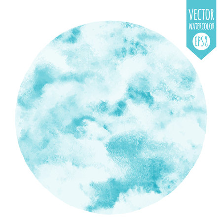 Sky vector watercolor round background. Heaven with clouds. Circle shape. Shades of blue. Painted abstract aquarelle backdrop.