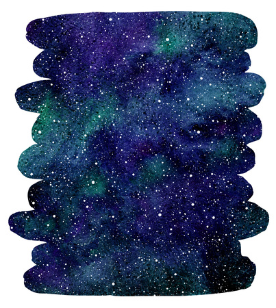 Watercolor cosmic background. Galaxy, universe or night sky with stars and colorful watercolor stains. Emerald, blue cosmos illustration. Vertical brush drawn shape. Brush stroke with uneven edges.