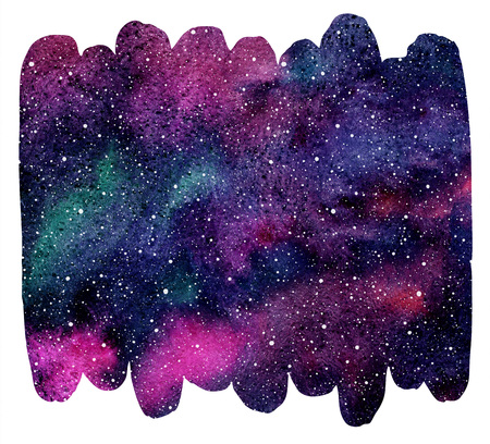 Brush drawn shape cosmic background. Galaxy, universe or night sky with stars and colorful watercolor stains. Cosmos illustration with blobs texture. Watercolor brush stroke with uneven edges.