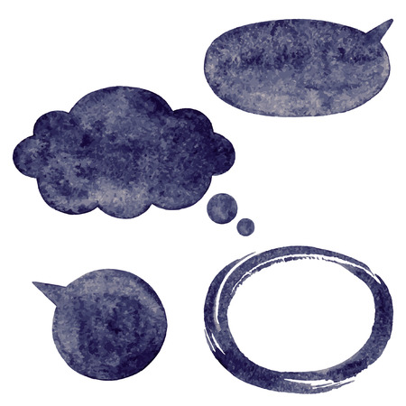 gloom: Dark watercolor vector speech bubbles, cloud and oval brush stroke frame with rough, artistic edges.