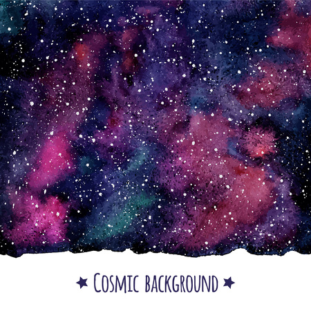 Cosmic vector watercolor background with uneven edge. Galaxy or night sky with stars border. Çizim
