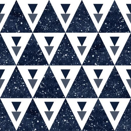 우주 삼각형 원활한 벡터 패턴입니다. 별 수채화 어두운 파란색 밤 하늘입니다. 일러스트
