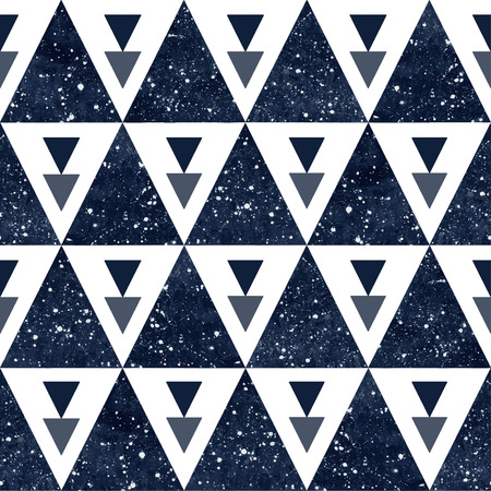 Cosmic triangles seamless vector pattern. Watercolor dark blue night sky with stars. Ilustração