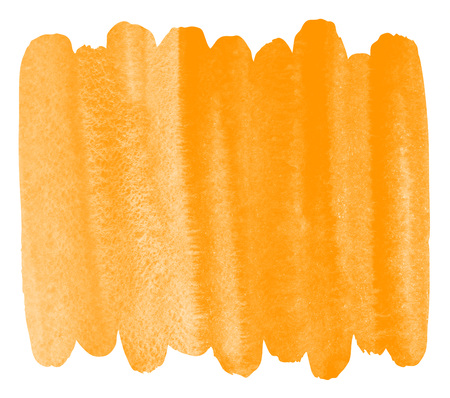Orange watercolor autumn background with stains and rough, uneven edges. Brush stroke shape. Painted watercolor texture. Bright, festive aquarelle template for cards, banners, posters. Stock Photo