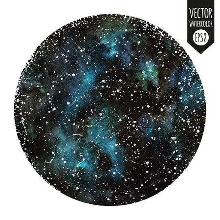 Watercolor vector surreal night sky with emerald stains and stars, Hand drawn splash texture, Circle form with rough, artistic edges, Round shape, Stars are removable. Çizim