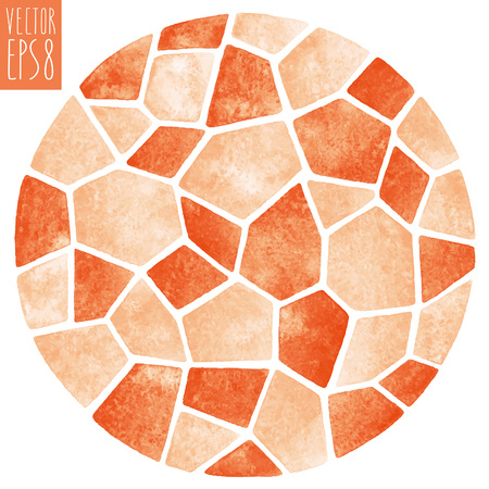 Abstract vector watercolor background. Round polygonal mosaic pattern. Ceramic tile or inlay stylization. Circle shape. Orange pastel colors.