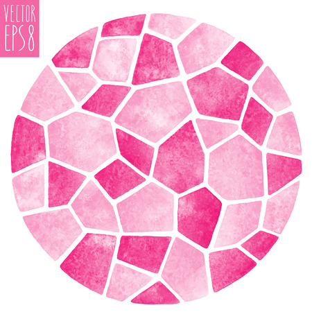 Abstract vector watercolor background. Round polygonal mosaic pattern. Ceramic tile or inlay stylization. Circle shape. Pink pastel colors. Illustration