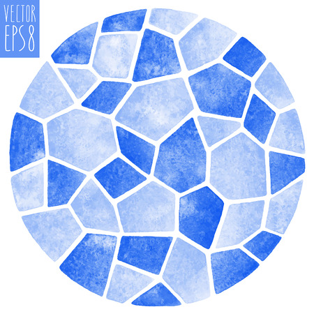 Abstract vector watercolor background. Round polygonal mosaic pattern. Ceramic tile or inlay stylization. Circle shape. Blue pastel colors.