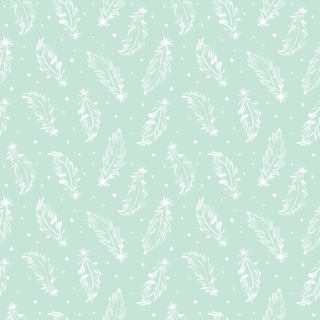 Hand drawn feathers and specks, flecks, blobs seamless vector pattern. Boho style simple background. Tiny swan feathers with uneven dots, splash, blots, speckles endless texture. Mint green and white.