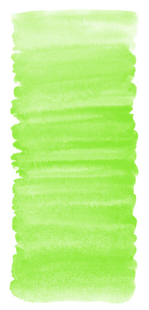 Grass green watercolor gradient background with stains and rough, uneven edges. Brush stroke elongated shape. Painted watercolor texture. Bright aquarelle template for cards, banners, posters.