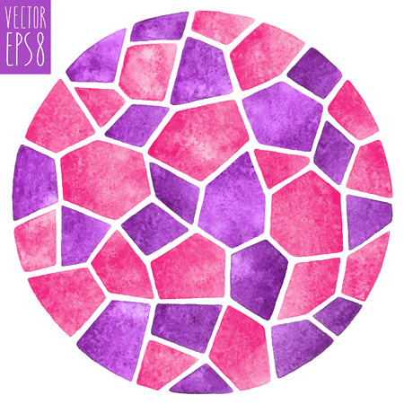Abstract vector watercolor background. Round polygonal mosaic pattern. Ceramic tile or inlay stylization. Circle shape.