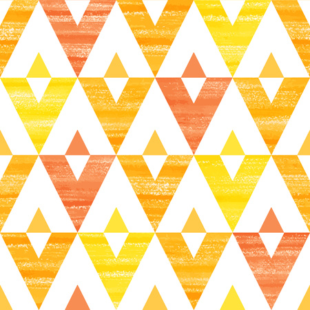Acrylic yellow, orange and red triangles seamless vector pattern. Brush drawn geometrical background.