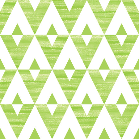 Acrylic triangles seamless vector pattern. Green and white brush drawn geometrical background.