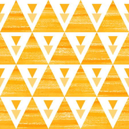 Orange and white triangles seamless vector pattern. Acrylic hand drawn geometrical background.