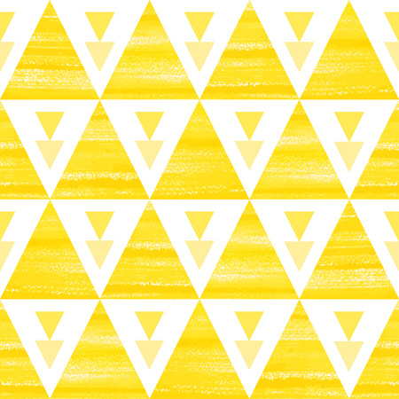 Acrylic triangles seamless vector pattern. Yellow and white brush drawn geometrical background.