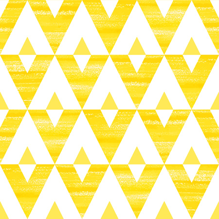 wasteland: Acrylic triangles seamless vector pattern. Yellow and white brush drawn geometrical background.