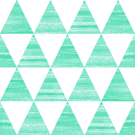 Painted triangles seamless vector pattern. Acrylic, watercolor hand drawn mint green and white geometrical background.