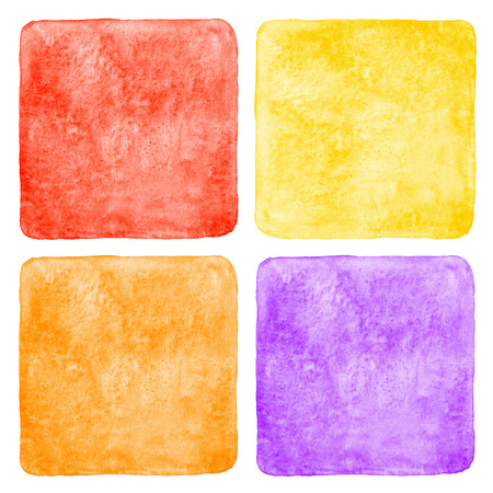 lia: Collection of watercolor backgrounds, templates with uneven edge and rounded corners. Bright colorful aquarelle squares - red, yellow, orange, violet fills. Watercolor textures with stains. Stock Photo