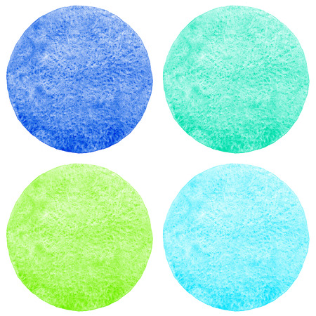 navy blue background: Collection of watercolor circles with uneven edge. Bright colorful aquarelle round backgrounds - red, yellow, orange, violet. Watercolor texture with stains, isolated templates for text.