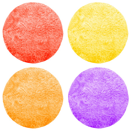 fire flower: Collection of watercolor circles with uneven edge. Bright colorful aquarelle round backgrounds - red, yellow, orange, violet. Watercolor texture with stains, isolated templates for text.